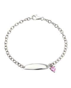 Sterling Silver & Pink CZ Charm Bracelet