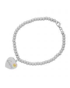 Sterling Silver With 9ct Yellow Gold Love Bracelet