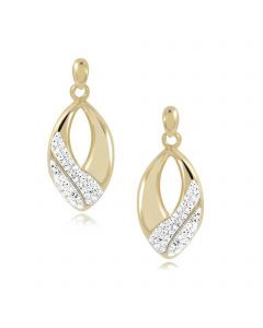 9ct Gold Glass Crystal Ladies Earrings