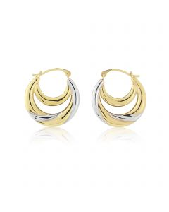 9ct gold creole earrings with white rhodium highlights