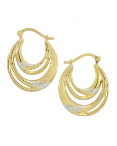 9ct Yellow Gold Two Toned Creole Earrings