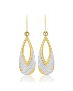 9ct Gold Two Toned Dropper Earrings
