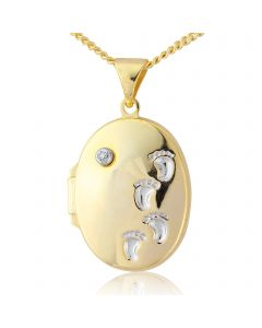 Silver, yellow rhodium 'footprints' diamond locket