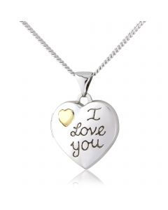 Silver and 9ct gold, 'i love you' locket