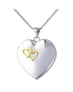 Silver, yellow rhodium 'together forever' locket