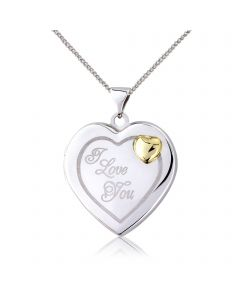 Sterling Silver & 9ct Gold 'I Love You' Ladies Locket