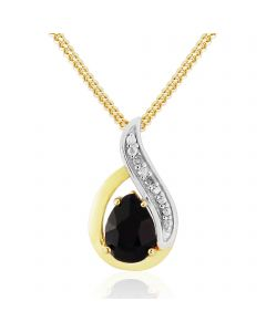9ct Gold Plated On Silver Sapphire And Diamond Pendant