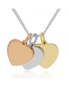 Trio of Polished Hearts in Silver & 9ct Gold Plate