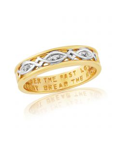 Gents 9ct Gold Plated on Silver, Diamond Set Message Ring