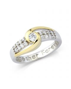 Silver Gold Plated 'Together Forever' Ring